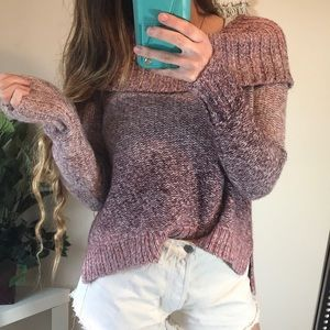American Eagle Pink Ombré Cowl Neck Sweater